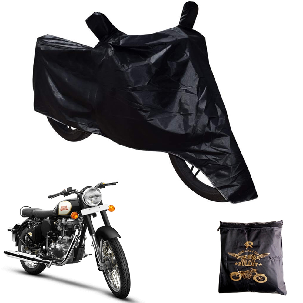 Heavy Duty Royal Enfield Bullet Body Cover with Mirror Pockets, Waterproof Rain UV Dust Prevention Dust-proof Covering Covers for Royal Enfield all Model Bikes (Black)