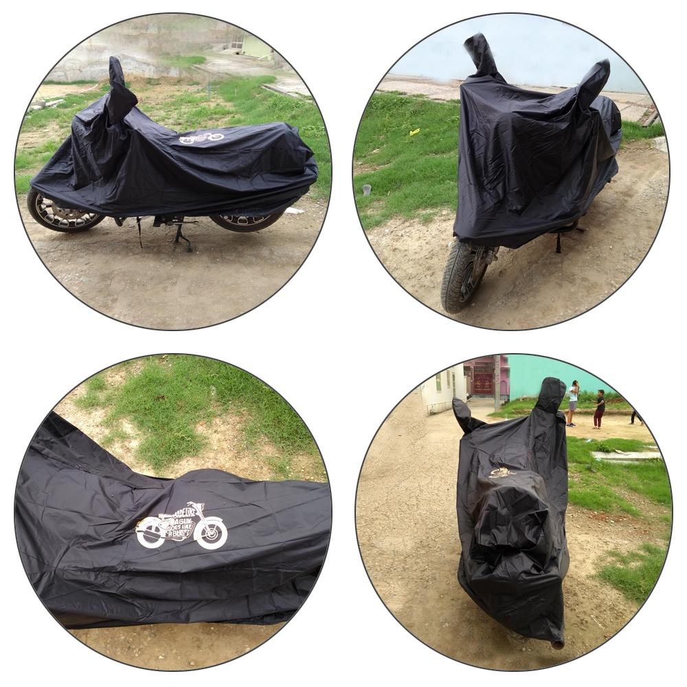 Heavy Duty Royal Enfield Bullet Body Cover with Mirror Pockets, Waterproof Rain UV Dust Prevention Dust-proof Covering Covers for Royal Enfield all Model Bikes (Black)