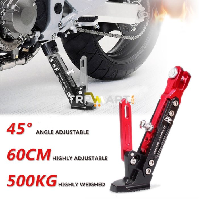 Motorcycle Height Adjustable Tripod Protect Foot Kick Stand Side Stand W//Spring
