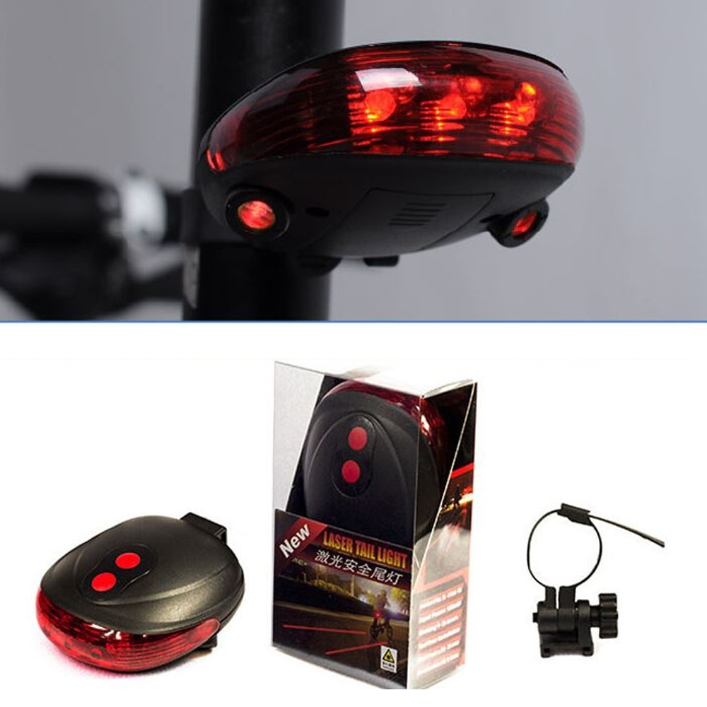 Cycling Light 5 Waterproof LED 2 Laser Beams Bike Bicycle Laser Tail Light 7 Flash Mode, 5 LED Cycling Rear Light, Bike Tail Lamp