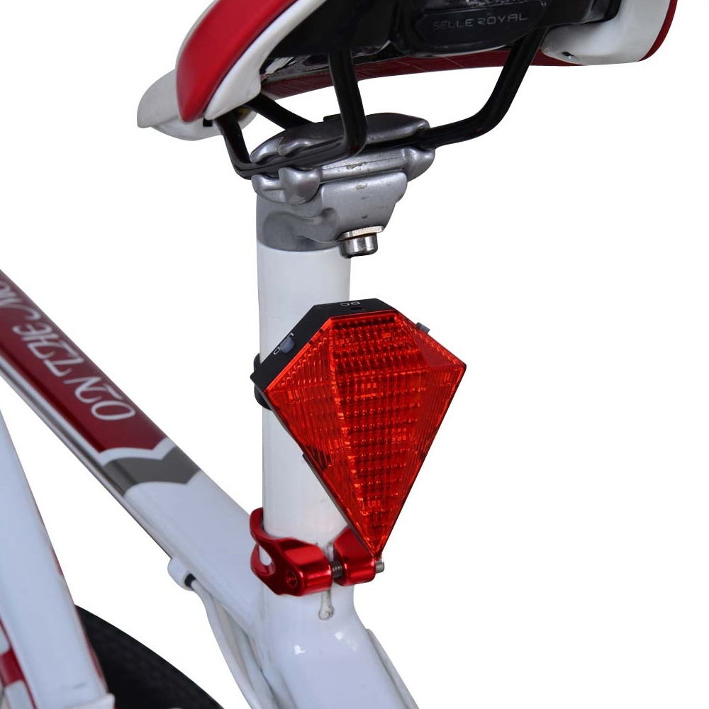 Rechargeable Diamond Shape 8 LED & 2 Laser Tail Light with 6 Flash Mode, Weatherproof Bicycle Bike Rear Tail Safety Warning, Flashing Lamp Light