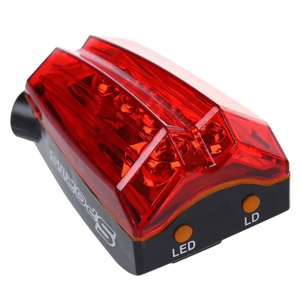 Sports Cycle Light 5 LED 2 Laser Beams Bike Bicycle Laser Tail Light 5 Flash Mode, Waterproof 5 LED Cycling Rear Light, Bike Tail Lamp