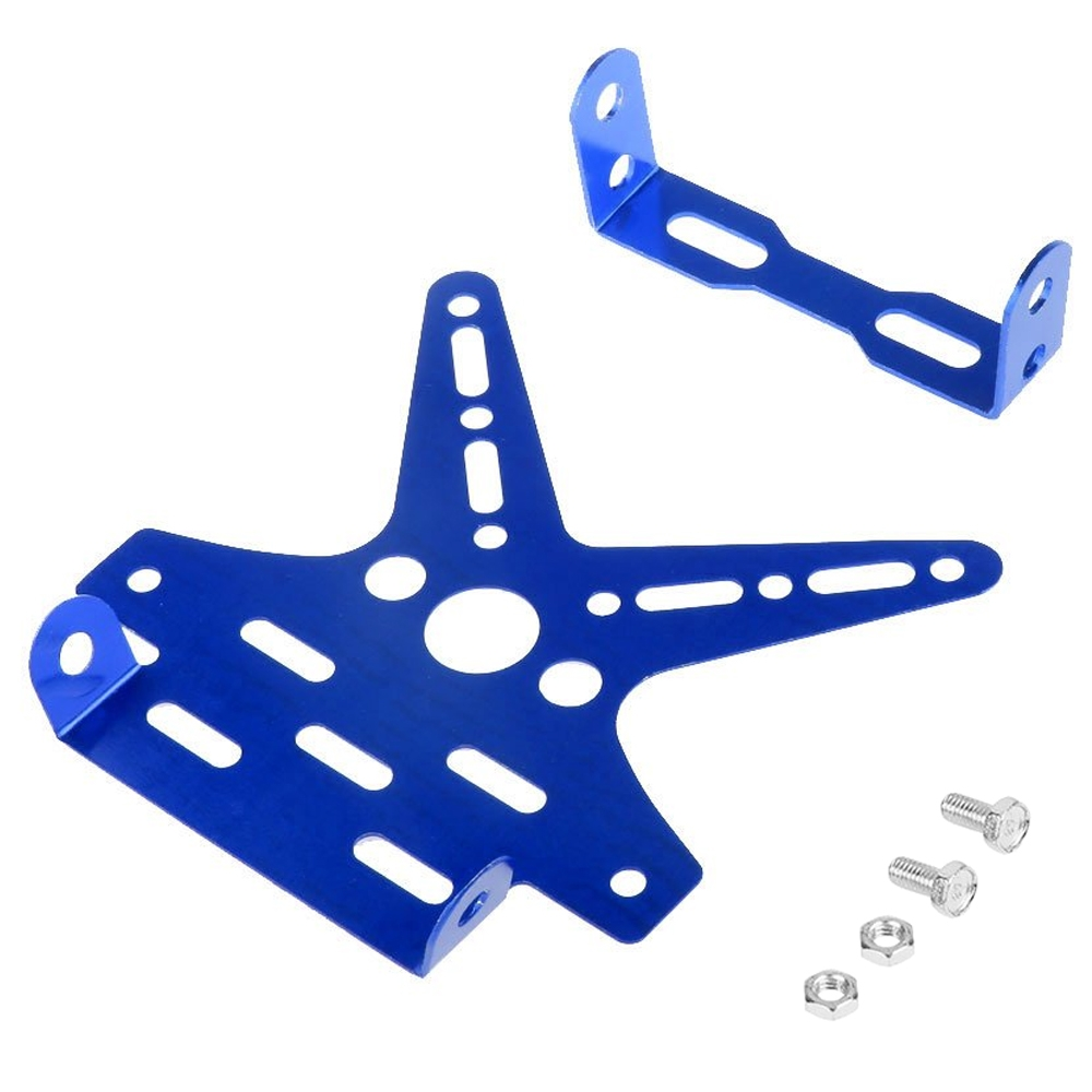 Blue Universal Motorcycle Adjustable Number License Plate Holder, Aluminum Alloy Tail Tidy Mount Bracket Number Plate Holder