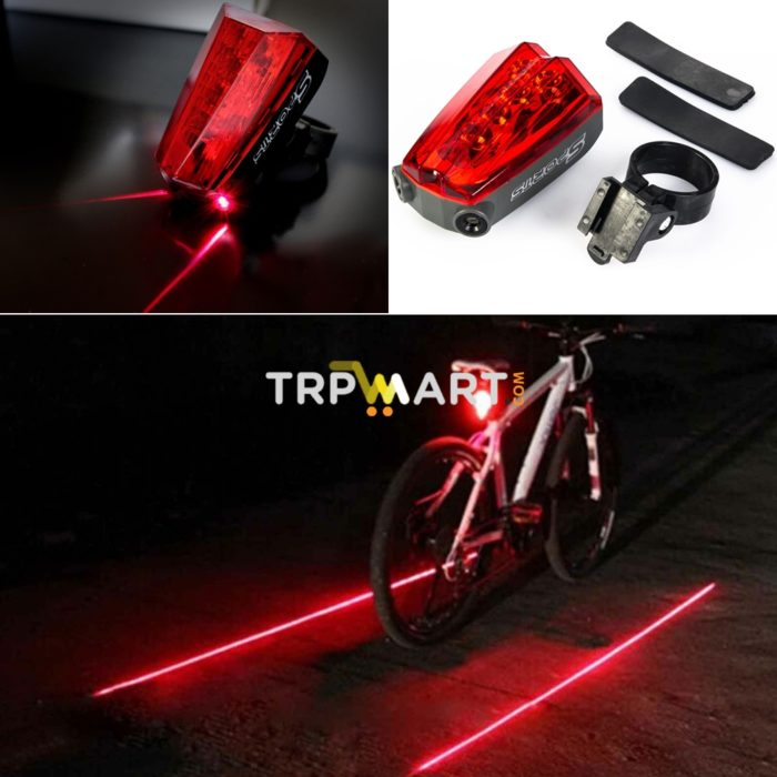 5 LED Red 2 Laser High Light LED Road Bike Bicycle Cycling Rear Tail Light Lamp