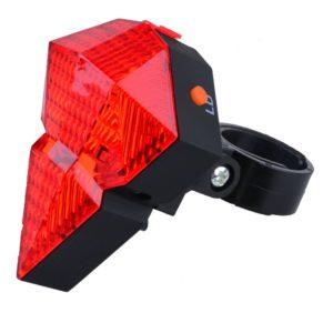 Rechargeable Diamond Shape 8 LED & 2 Laser Tail Light with 6 Flash Mode, Weatherproof Bicycle Bike Rear Tail Safety Warning, Flashing Lamp Light