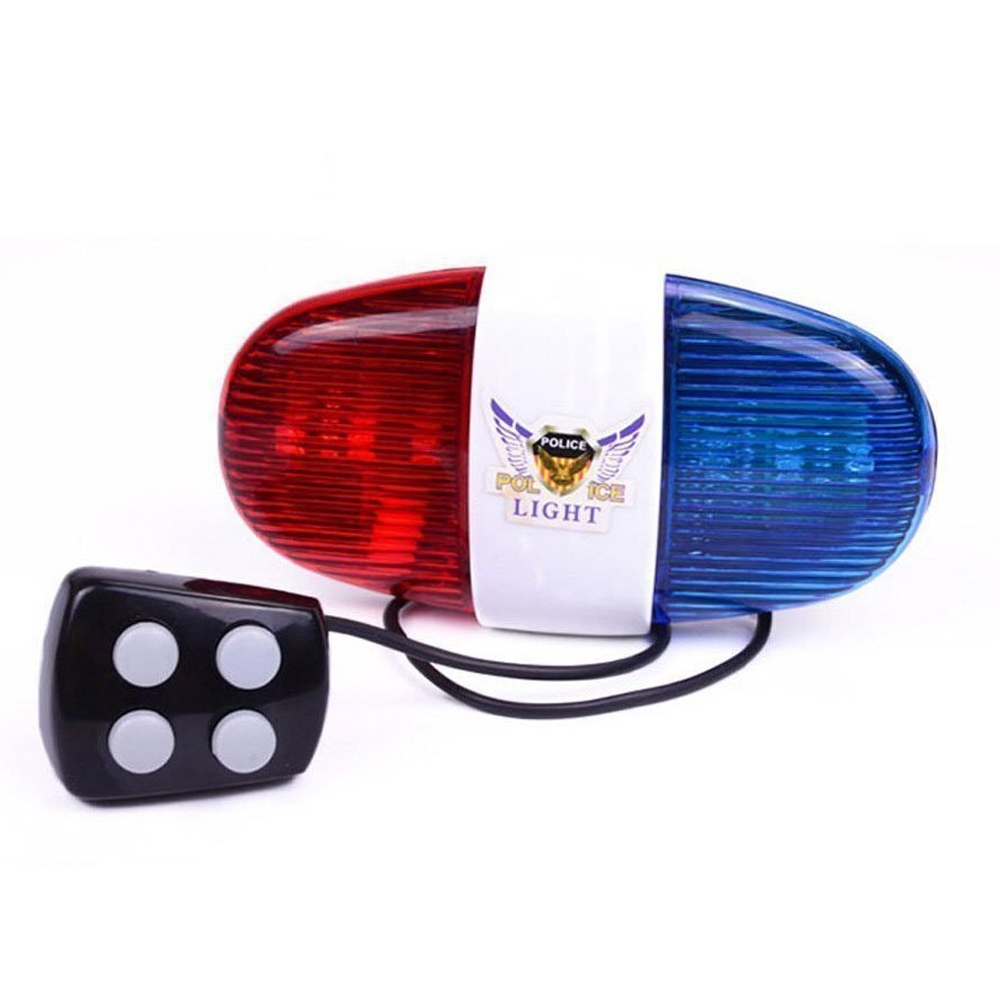 Super Loud Bicycle 6 LED Police Light 4 Tone Siren Horn for Bike Bicycle Bells, LED Bicycle Electronic Light for Kids Bike Accessories (JY-15)