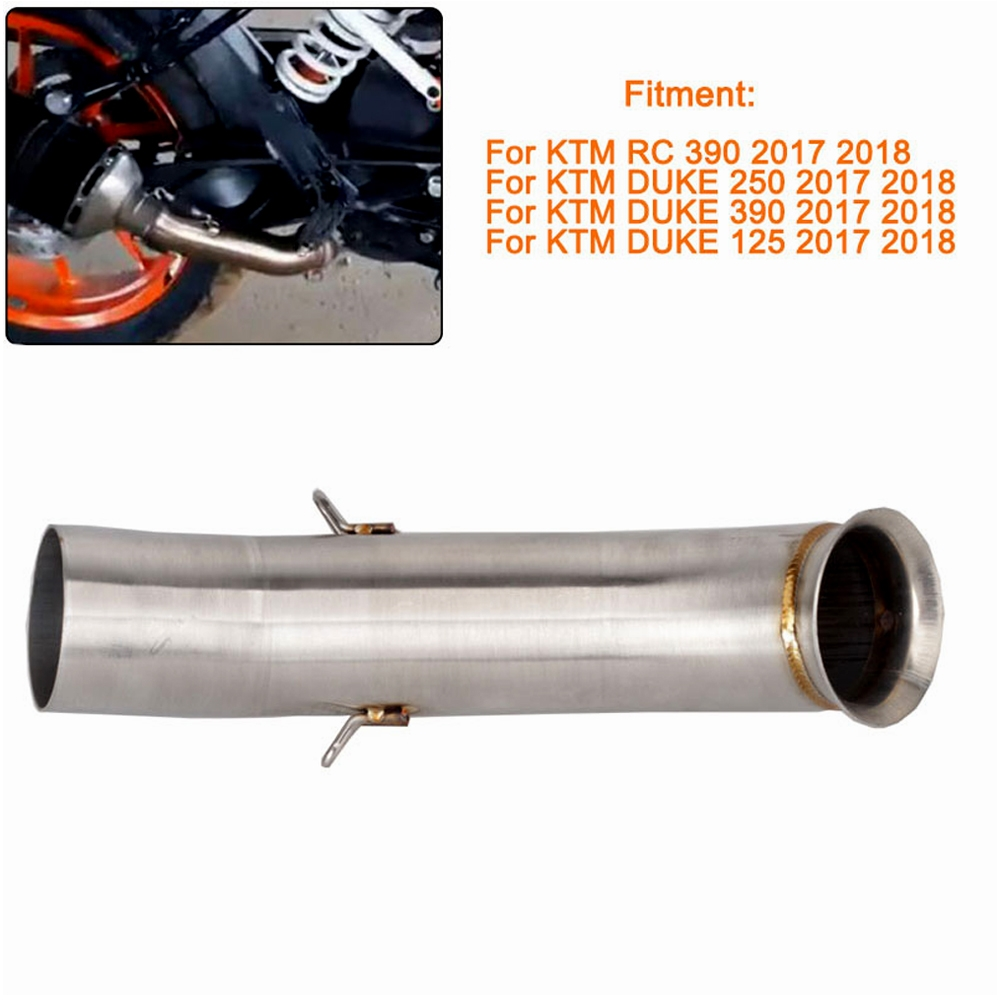 Stainless Steel Motorcycle Exhaust Middle Muffler Bend Pipe for KTM RC 390/ KTM DUKE 125/ KTM DUKE 250/ KTM DUKE 390 (2017-2018 Models)