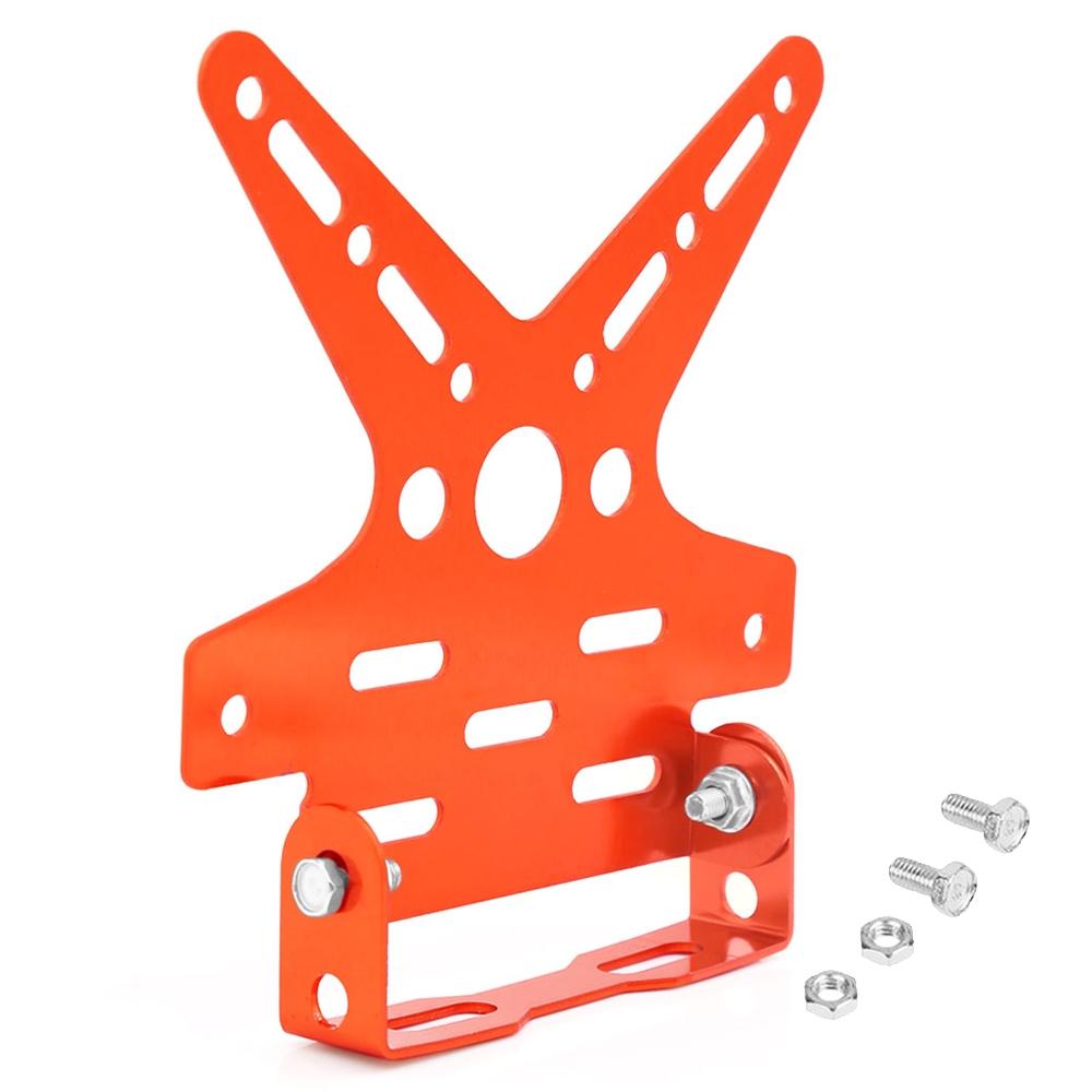 Orange Universal Motorcycle Adjustable Number License Plate Holder, Aluminum Alloy Tail Tidy Mount Bracket Number Plate Holder