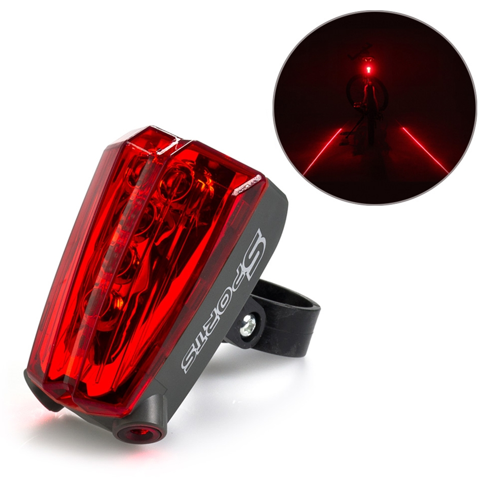 Sports Cycle Light 5 LED 2 Laser Beams Bike Bicycle Laser Tail Light 5 Flash Mode, Waterproof 5 LED Cycling Rear Light, Bike Tail Lamp