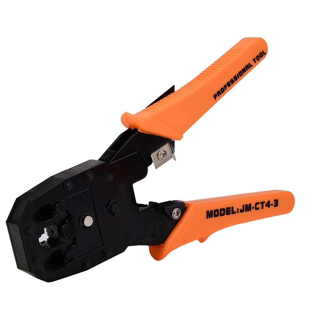 3 in 1 Modular Crimping Tool, RJ45, RJ11, RJ12, Cat5E/ Cat6 Lan Cable Cutter Pliers & Cable Punch Down Cutter Tool Stripper