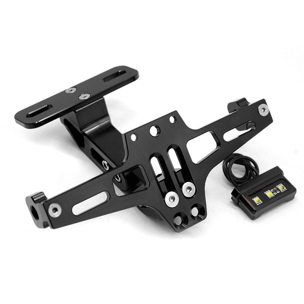 Black CNC Aluminum Alloy Adjustable Tail Tidy Number License Plate Holder