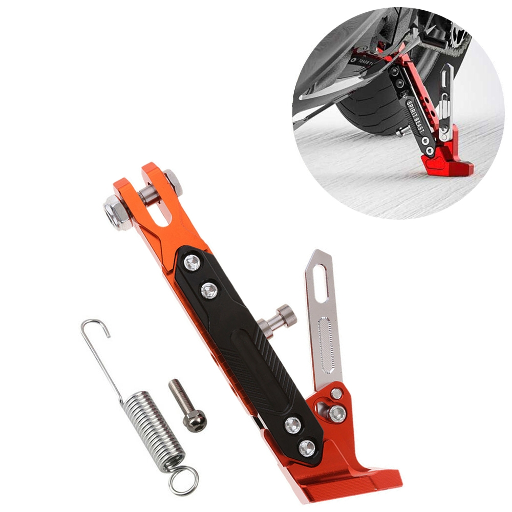 Black & Orange CNC Aluminum Alloy Adjustable Kickstand Foot Side Stand