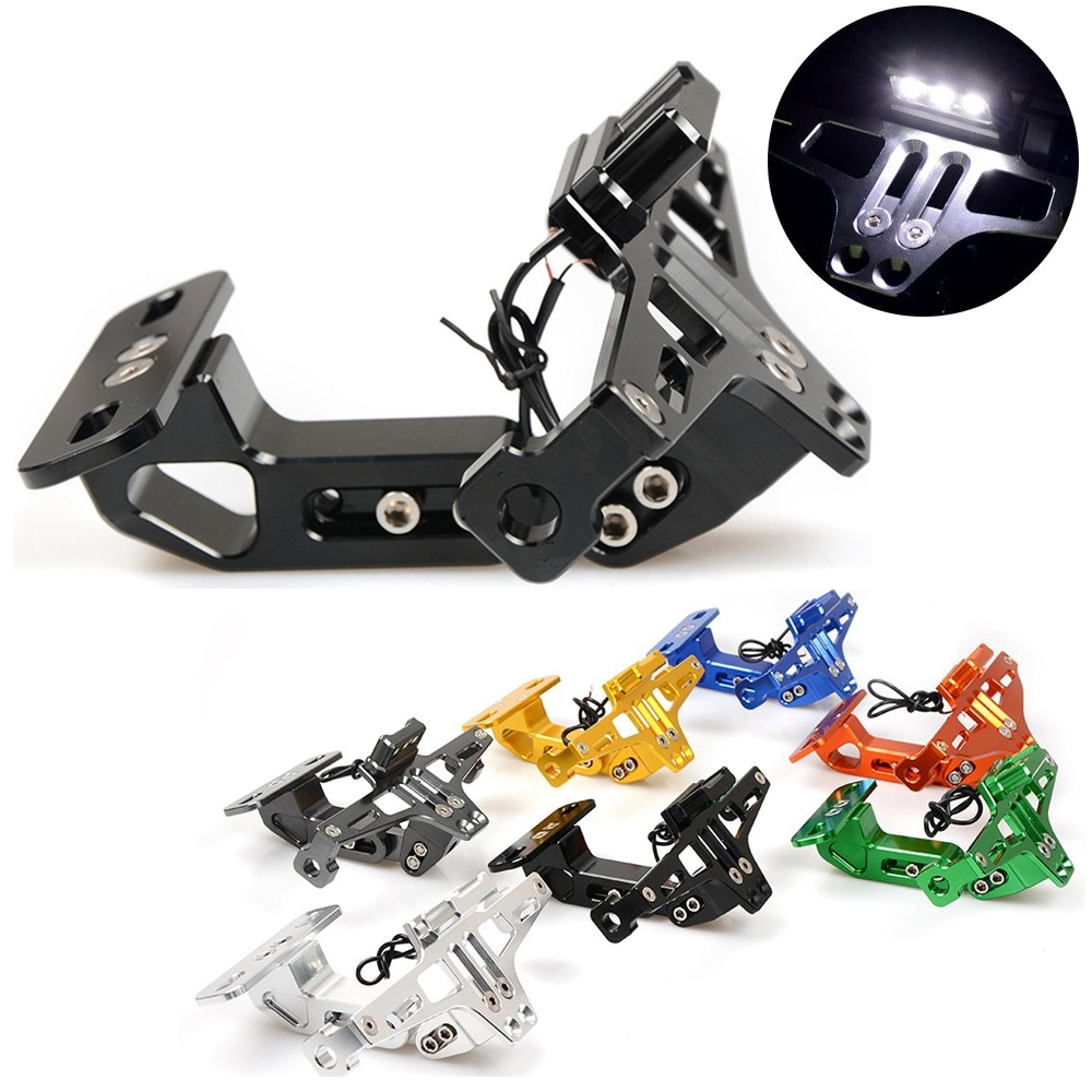 Universal Motorcycle CNC Aluminum Alloy Adjustable Tail Tidy Number License Plate Holder, Tail Tidy Mount Bracket with Tail Light
