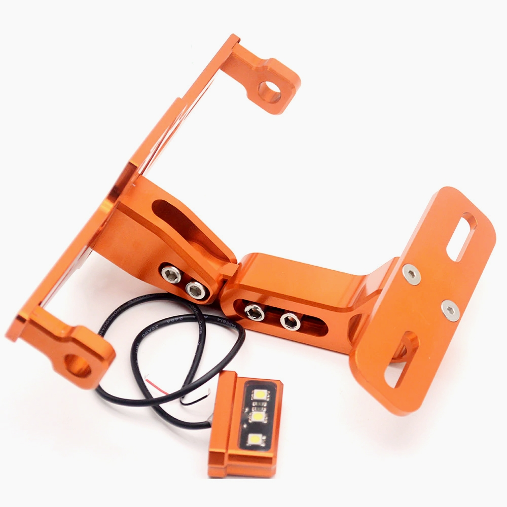 Orange CNC Aluminum Alloy Adjustable Tail Tidy Number License Plate Holder