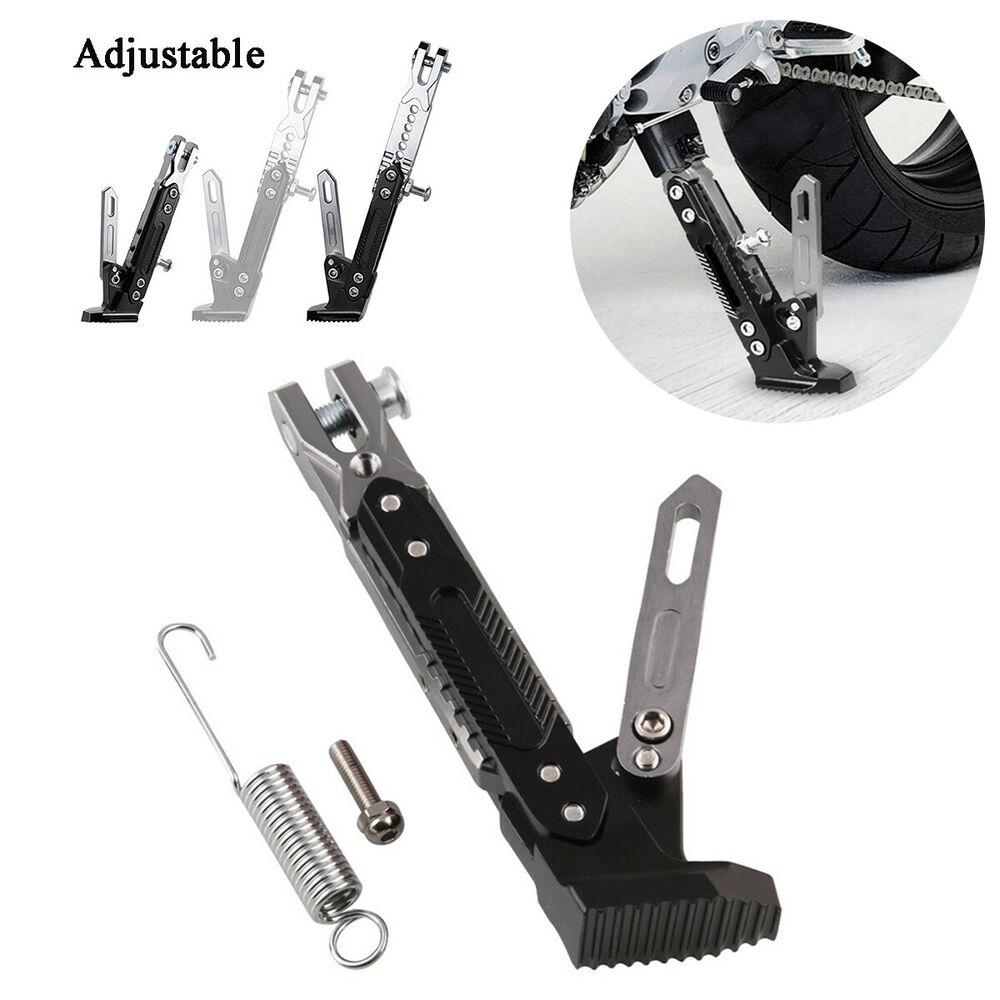 Silver & Black CNC Aluminum Alloy Adjustable Kickstand Foot Side Stand