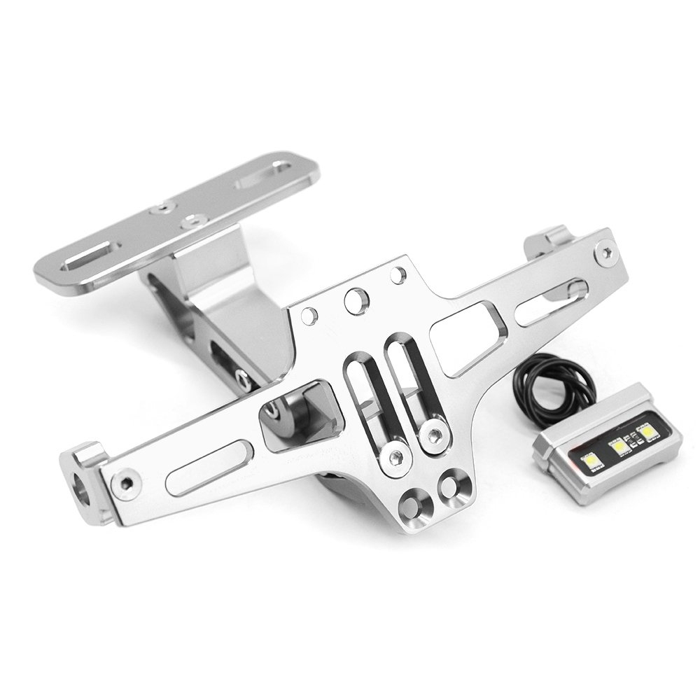 Silver CNC Aluminum Alloy Adjustable Tail Tidy Number License Plate Holder