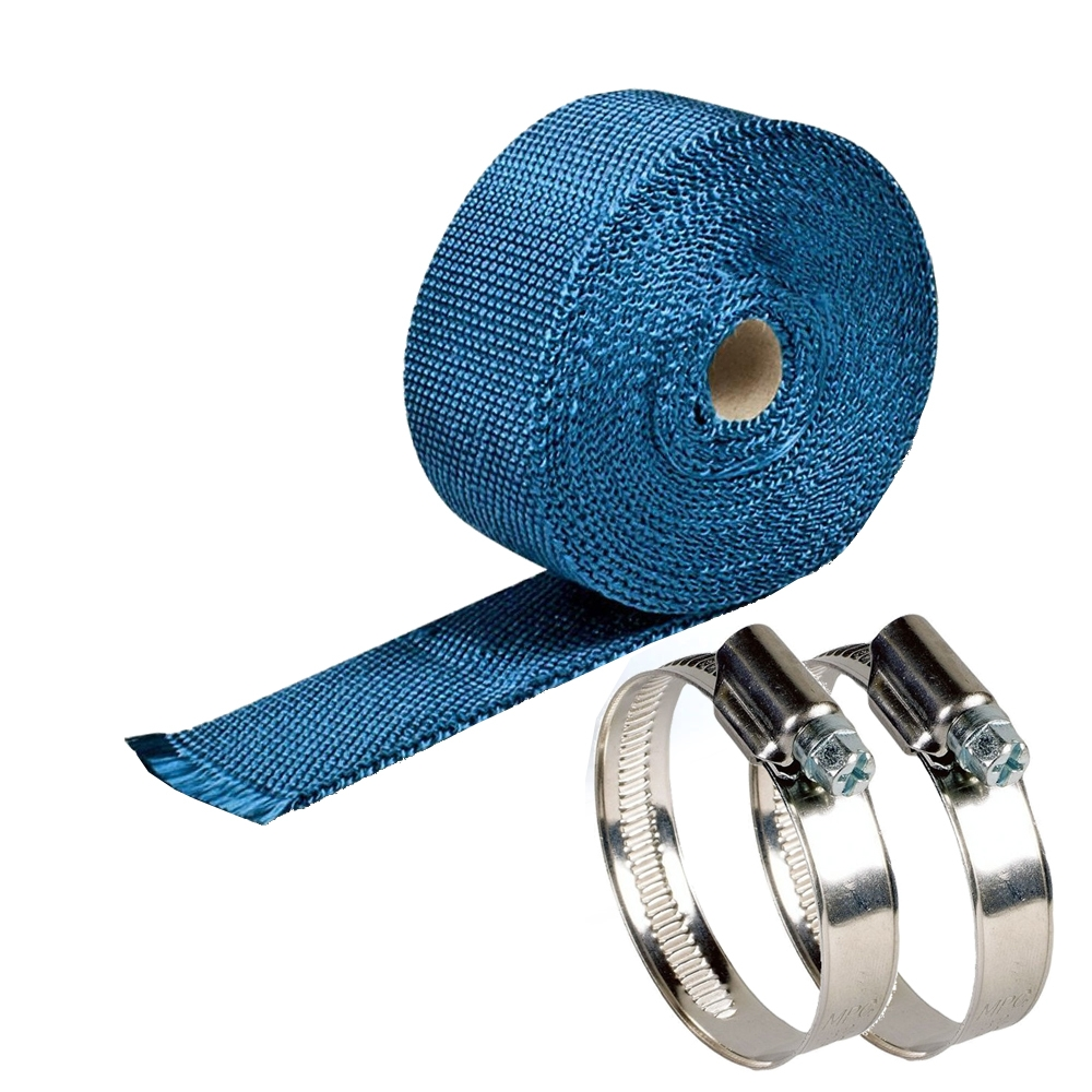 Blue 3 Meter Bike Incombustible Turbo Exhaust Heat Shield Silencer Wrap with Clamps for Royal Enfield & All Motorcycles