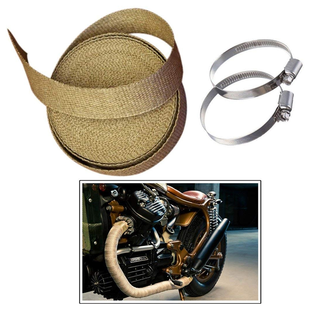 Brown 3 Meter Bike Incombustible Turbo Exhaust Heat Shield Silencer Wrap with Clamps for Royal Enfield & All Motorcycles