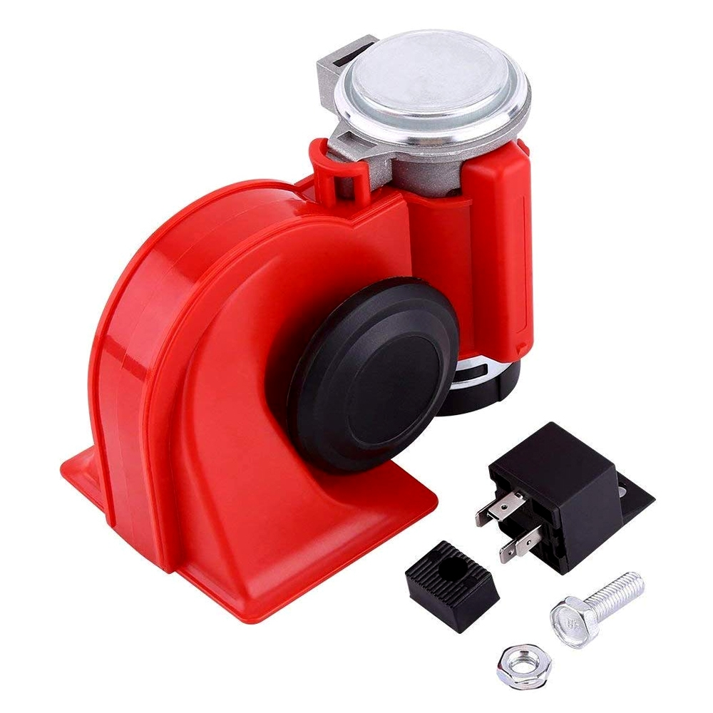 DC 12V 139db Twin Tone Air Blast Electric Horn Loudspeaker Steam with Relay, Compact Horn for Motorcycle, Bike, Car, Boat, Truck, Boat, Lorry, Van