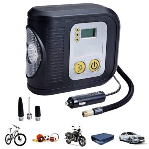 Portable 12V Digital Tyre Inflator Auto Cut off Air Compressor with LED Light Torch & 3 Different Nozzle
