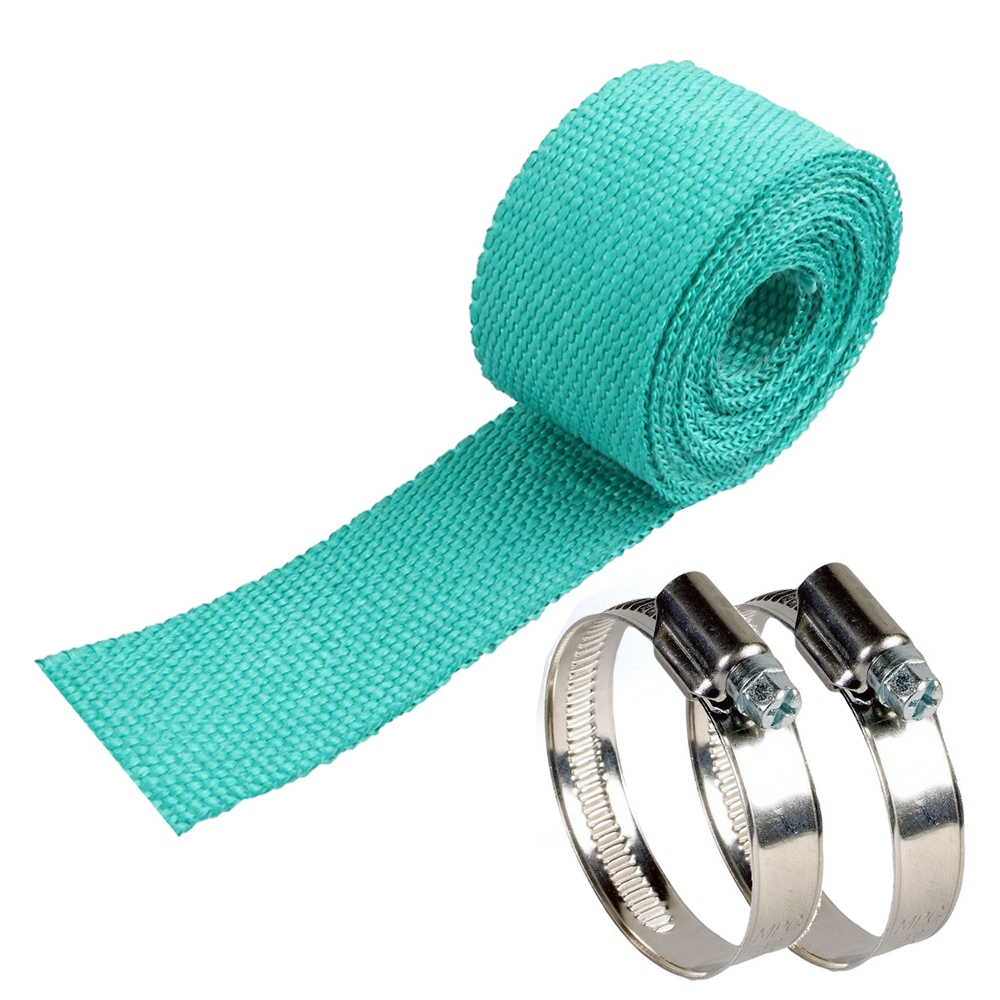 Green 3 Meter Bike Incombustible Turbo Exhaust Heat Shield Silencer Wrap with Clamps for Royal Enfield & All Motorcycles