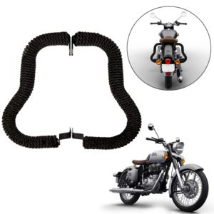 Heavy Duty Safety Rear Leg Guard Back Crash Guard with Strong Wrap (Black Rope) for Royal Enfield Bullet Classic 350/500, Standard 350/500, Electra, Desert Storm, Squadron Blue