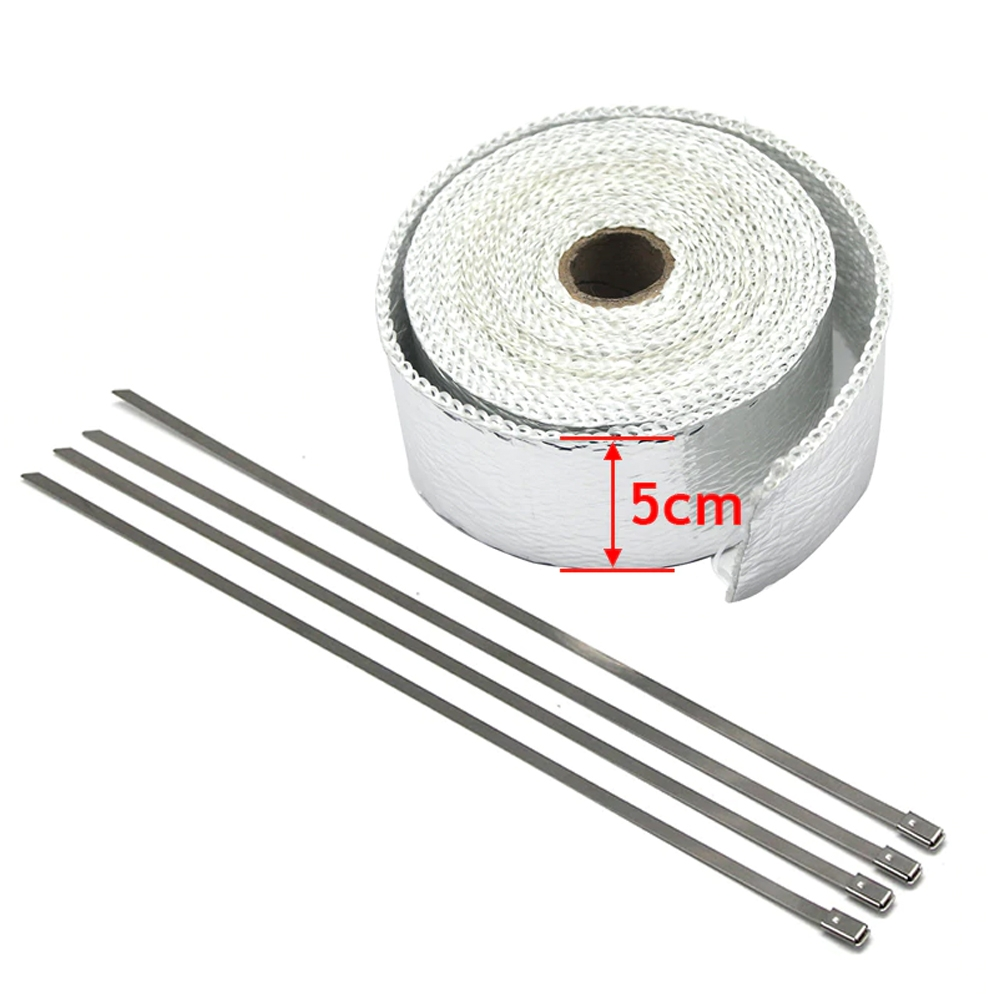 Chrome 3 Meter Bike Incombustible Turbo Exhaust Heat Shield Silencer Wrap with Clamps for Royal Enfield & All Motorcycles