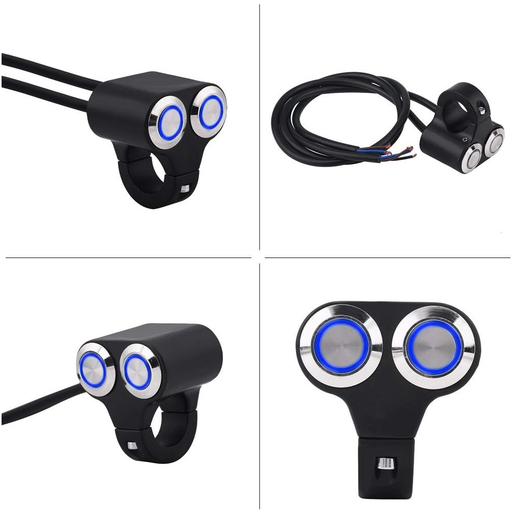 Universal Dual CNC Aluminum Alloy 22mm 7/8″ Motorcycle Handlebar Momentary Switch 2 ON/OFF Button with Indicator Backlight for Motorcycle, Harley, Dirt Bike, Scooter, ATV