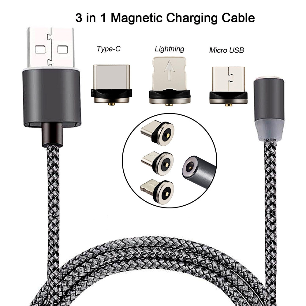 3 in 1 Magnetic Charging Cable USB to Type C/ Micro USB/ iOS Mobiles Fast Charging Cable 1M Nylon Braided with LED Indicator for iPhone & Android