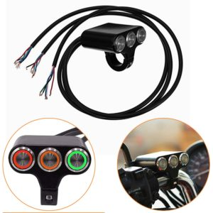 Universal 3 in 1 CNC Aluminum Alloy 22mm 7/8″ Motorcycle Handlebar Momentary Switch 2 ON/OFF 1 Push Button with Indicator Backlight for Motorcycle, Harley, Dirt Bike, Scooter, ATV