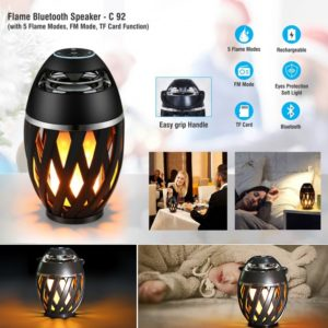 Led Flame Bluetooth Speakers, Flame Torch Atmosphere Speaker Bluetooth 4.2 Wireless Portable Outdoor HD Audio Waterproof Speaker/ FM with 96 LEDs Flickers Warm Night Lights for iPhone/ iPad/ Android