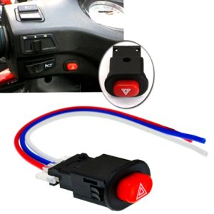 Motorcycle/ Car Double Flash Turn Signal Flasher Switch Button Warning Emergency Lamp with 3 Wires Built-in Lock