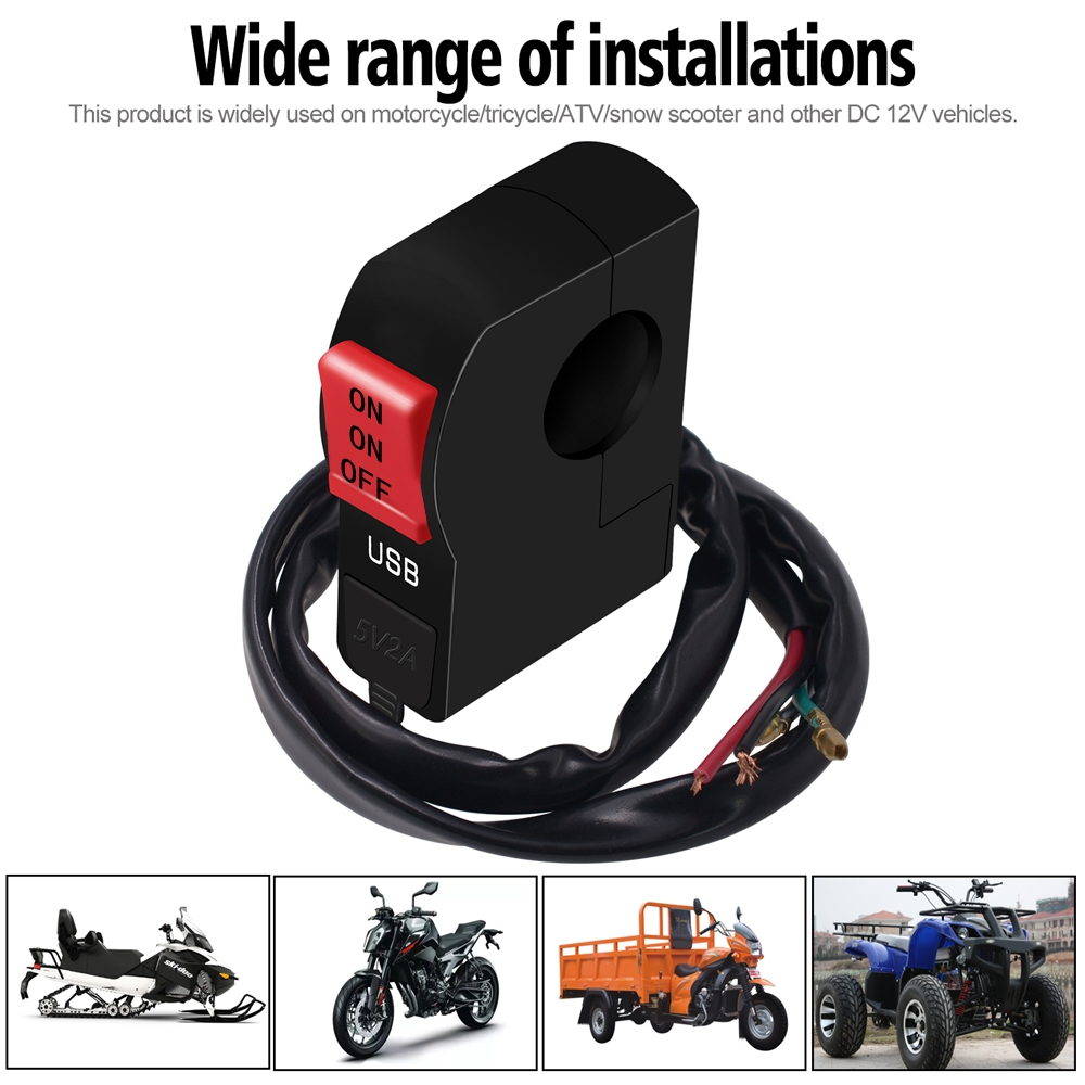 12V Universal 22mm 7/8″ Motorcycle Handlebar Dual Switch ON OFF Button with USB Charging Port (2 Amp), 5 Wire Connectors